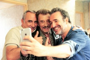 Antoine Duléry, Jean Dujardin et Johnny ou... son sosie. DR