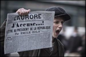 """Quand Emile Zola lance son fameux cri dans """"L'Aurore"""". DR"""