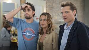 Victor (Arthur Dupont), Max (Bruno Bénabar) et Célia (Alice Belaïdi). DR