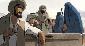 Les talibans et leurs prisonnières. DR