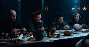 """Kaamelott"": Jean-Robert Lombard, Antoine de Caunes, Christian Clavier, François Rollin. DR"